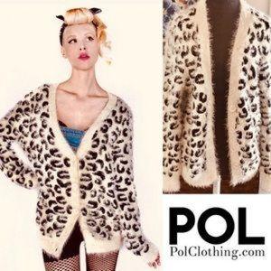 Pol eyelash leopard cardigan sweater